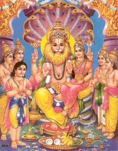 On Narasimha Jayanthi Lord Vishnu manifested as Lord Narasimha. Lord Vishnu has appeared in the form of half lion, half man to kill the demon Hiranyakashipu as Lord Narasimha on Vaishakha Shukla Chaturdashi day. Lord Vishnu, Deus Vishnu, Lord Shiva, Lord Ganesha, Jai Shree Krishna, Krishna Art, Hare Krishna, Krishna Leela, Jai Hanuman