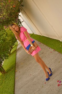 Hot Pink Dress and Royal Blue Shoes