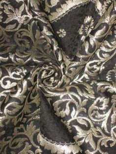 Heavy-Pure-Silk-Brocade-Fabric-Metallic-Gold-Black