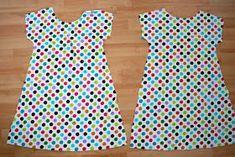 Zaaberry: Girls Tunic Dress - TUTORIAL (using a tee shirt as the pattern base) Tunic Dress Patterns, Clothing Patterns, Skirt Patterns, Coat Patterns, Toddler Sewing Patterns, Simple Tunic, Simple Dress Pattern, Girls Tunics, Creation Couture