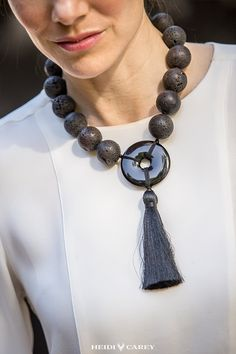 Black necklaces for women, made of the best materials. Timeless designs for fashion lovers. Quality gift for a women over 40. Heidi Carey, Boldly Classic Jewelry handcrafted in California. #black #lava #necklaces