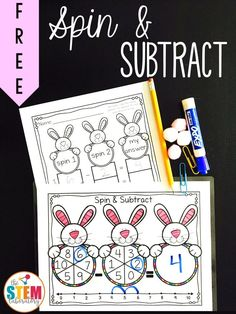 Fun spin and subtract game for kindergarten and first grade! Perfect math center for a spring unit or Easter theme. Subtraction Kindergarten, Kindergarten Centers, Math Centers, Math Stations, Preschool Class, Kindergarten Lessons, Kindergarten Classroom, Learning Centers, Preschool Ideas