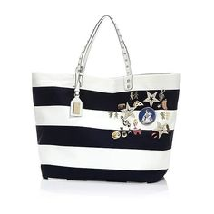 Dolce & Gabbana Striped Canvas Tote (35.747.155 IDR) ❤ liked on Polyvore featuring bags, handbags, tote bags, tote purses, tote handbags, handbag purse, hand bags and stripe tote bag