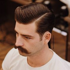 Classic haircut by Temka MWB for Mustache Brother / Barbershop Product Schmiere Dr. Handlebar Mustache, Beard No Mustache, Cool Haircuts, Haircuts For Men, Hair And Beard Styles, Short Hair Styles, Hair Balm, Hair Trends 2015, Classic Haircut