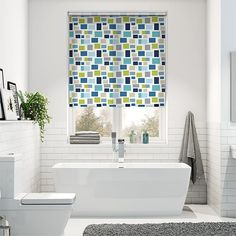 Blocks Indigo Roller Blind Made To Measure Blinds, Bathroom Blinds, Roller Blinds, Blinds For Windows, Gorgeous Fabrics, Shades Of Green, Indigo, Curtains, Interior Design
