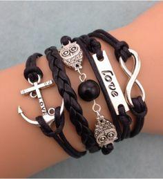 New Infinity bracelet Infinity owl love anchor friendship leather charm bracelet Jewelry Bracelets Bracelet Love, Owl Bracelet, Love Bracelets, Bracelet Sizes, Pearl Bracelet, Handmade Bracelets, Silver Bracelets, Fashion Bracelets, Bangle Bracelets