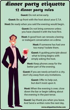 12 Dinner Party Etiquette Rules - Great dinner party etiquette advice for hosts and guests!