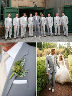 i like the idea of the groom being in a darker shade of the groomsmen's color.