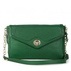 Cassie LEATHER ENVELOPE CLUTCH - Kelly Green