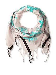 Leigh & Luca Women's Lily Triangle Scarf, Shadow Ombre/Grey/Aqua Flock