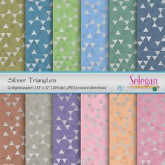 Silver Triangles Digital Paper Scrapbooking Paper 12x12 by Selegan on Etsy Download it Here:- https://www.etsy.com/listing/238924375