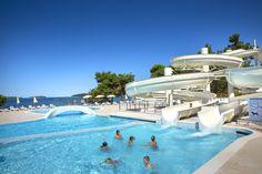 Resort Villas Rubin, Rovinj, Croatia @ Pool has a huge waterslide, bridges and curvy shores.