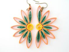 Half Sunflower Paper Quilled Earrings in Coral by FiligreeDelights on Etsy - Paper Ideas Diy Quilling, Paper Quilling Earrings, Paper Quilling Tutorial, Paper Quilling Patterns, Origami And Quilling, Quilled Paper Art, Quilling Paper Craft, Paper Crafting, Paper Quilling For Beginners