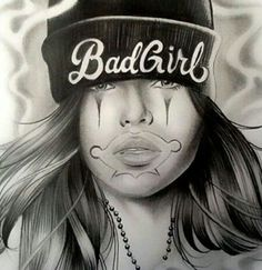 Chicano Art Tattoos, Chicano Drawings, Thrasher, Payasa Tattoo, Chicano Love, Gangster Girl, Gangster Style, Cholo Art, Latino Art