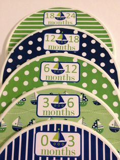 5 Custom Baby Closet Dividers - Navy And Green Nautical Sailboats - Baby Boy…