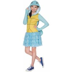 Pokemon Squirtle Hoodie Dress Child Halloween Costume, Girl's, Size: Small, Green