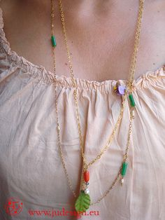 collana lunga con fiori e pietre colorate/necklace long whith flowers and colored stones -  Romantic Style - JU Jewels RIF 05