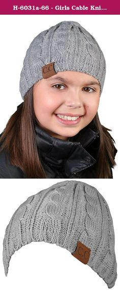 H-6031a-66 - Girls Cable Knit Beanie - Melange Grey. Yes, now there is a CC beanie hat for younger girls & boys. Adults know the great quality and comfort of our beanies, here is the first one with the next generation in mind!.