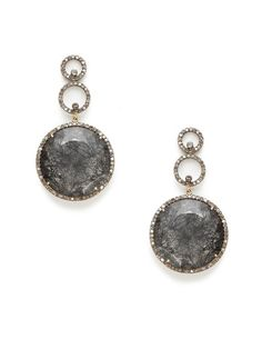Karma Jewels Rutilated Quartz & Diamond Open Circle Drop Earrings