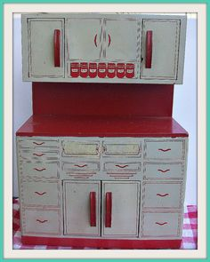 Vintage Wolverine Tin Hoosier Cabinet Toy. Love. This!