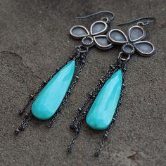Turquoise Earrings  Long Silver Turquoise Earrings   by lsueszabo, $235.00