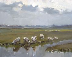 Roos Schuring (dutch painter) Landscape spring #19 Sheep and meadow II 24x30 cm, oil on canvas panel