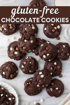 These gluten-free chocolate cookies are rich and fudgy with soft, brownie-like centers, chewy edges, and 2 types of chocolate chips. Use a combination of white and milk chocolate chips for triple chocolate cookies! #cookies #glutenfree #chocolate #glutenfreecookies