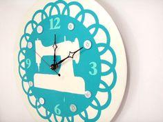 Sewing Machine Wall Clock by LaurelsArt on Etsy, $40.00