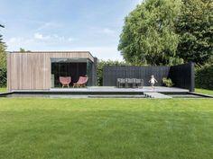 Moderne poolhouse met tuinwand te Tielt   Houten bijgebouwen op maat
