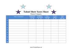 This Score Sheet For Talent Show Humor has space to record assessments of contestant's imagination, creativity, confidence, presentation, and crowd appeal. Free to download and print