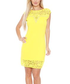 Love this White Mark Yellow Sheer-Lace Embellished Notch Neck Dress - Women by White Mark on #zulily! #zulilyfinds