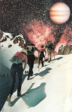 "Barbara Hauzinger's collage work is an experiment in fantasy. She says, ""The art of collage allows me to create places I wish I could see, sky-scapes I wish occurred every day, mountains with views I want to experience. (How beautiful it would be to look up and see multiple celestial bodies or vibrant galaxies in the sky!)"""