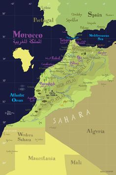 Illustrated Map of Morocco / x Fine Art Illustration Digital Print Africa Moroccan Map Marrakech, Morocco Travel, Africa Travel, Morocco Map, Visit Morocco, Vintage Poster, Vintage Travel Posters, Retro Posters, Vintage Maps