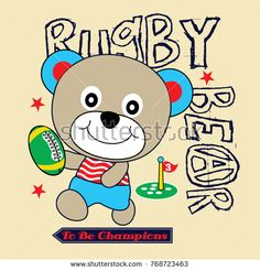 Imagens, fotos stock e vetores similares de Cartoon teddy bear wearing hat playing soccer on blue and white stripes background vector. Boys Summer Shirts, Summer Boy, Rugby Sport, Cute Lion, Illustration, Baby Cartoon, En Stock, Soccer Players, Animal Design