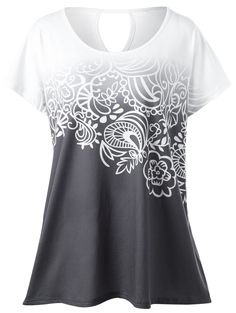 $9.14Plus Size Floral Ombre T-Shirt in White Grey | Sammydress.com