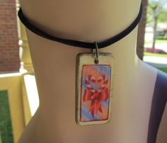 Candy Cane Heart domino Game tile Necklace by stevenssteampunk