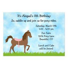 Cute Brown Horse Pony Rides Girls Birthday Invite