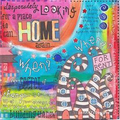 SanARTyDesigns: Pizzaboxes recycled...love those houses in the corner - reminds me of Dr. Seuss.
