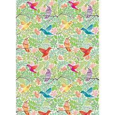 """Hummingbirds Wrapping Paper. Flat sheet - 19.5"""" x 27"""" Roll (2 sheets) - 27"""" x 39"""". $2.95 or $7.95"""