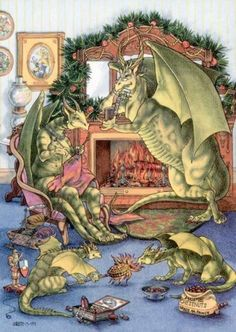 Christmas-Dragons-Chestnuts Roasting on an Open Fire - Dragon family practices a holiday tradition, by Alicia Austin http://www.boingdragon.com/gallery/holiday/chestnuts_roasting_on_an_open_fire
