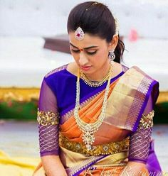 Looking for creative blouse work designs to try with your silk sarees? Here are 16 amazing blouse ideas that can make your silk saree look gorgeous! Blouse Back Neck Designs, Designer Blouse Patterns, Fancy Blouse Designs, Dress Designs, Wedding Saree Blouse Designs, Pattu Saree Blouse Designs, Pattern Blouses For Sarees, Blouse Models, Collor
