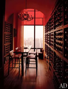 Custom-made wenge-wood racks line the wine room in a spectacular New York apartment.