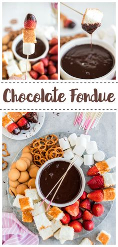 A delicious and easy chocolate fondue recipe with fun dipping skewers and dipper ideas. A delicious and easy chocolate fondue recipe with fun dipping skewers and dipper ideas. Dips Für Fondue, Fondue Raclette, Fondue Party, Fondue Ideas, Cheese Fondue Dippers, Mini Desserts, Just Desserts, Dessert Recipes, Health Desserts