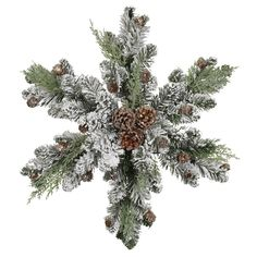 24 in. Flocked Pinecone and Fern Snowflake-5563554 - The Home Depot