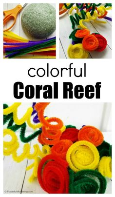 Pipe Cleaner Coral Reef Craft for Kids, – natural playground ideas Ocean Kids Crafts, Beach Crafts, Toddler Crafts, Crafts For Kids, Craft Kids, Craft Activities For Kids, Preschool Crafts, Projects For Kids, Classroom Projects