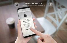 Galaxy S8 Mockup PSD file is created for promoting your Android apps, responsive website design, creating banners and advertising material, creative photos and video animations.  If you are Android developer or you design user interface or user experience, design responsive web sites, this mockup can help you promote your work. This photoshop file has 6 mockups of popular Galaxy S8 phone with five different phone colors, observed from different positions.