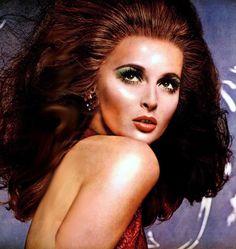 Samantha Jones Revlon The Face Gleamer 1967 Beauty Ad, Beauty Makeup, Bombshell Hair, 60s Makeup, Samantha Jones, Hair Raising, Contemporary Fashion, Revlon, Vintage Beauty