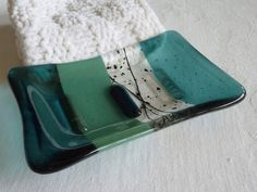 Glass Soap Dish in Sea Blue and Mineral Green