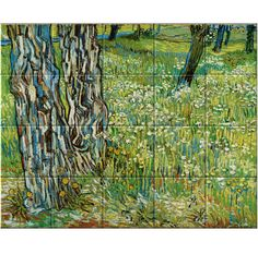 Tree Trunks in the Grass Tree Trunks, Thick And Thin, Small Plants, Decorative Tile, Vincent Van Gogh, Art Reproductions, Close Up, Grass, Museum