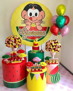 The party magali is highly sought after by mothers and children. This theme is great fun and easy to set up, see many tips here. Watermelon Birthday Parties, Birthday Party Decorations, Dessert Table, Girl Birthday, Party Supplies, Birthdays, Samara, Moana, Mothers